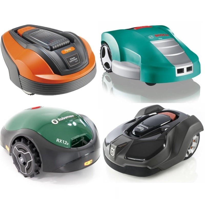 my robot mower collage of robot lawnmowers