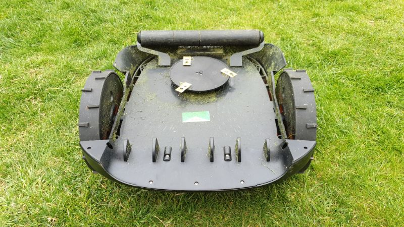 underside of canvas robot mower